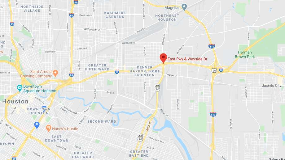 A pedestrian was hit and killed late Wednesday on the East Freeway in Houston, police said. Photo: Google Maps