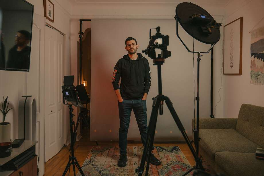 YouTube creator Carlos Maza in his Manhattan apartment, which doubles as his content creation studio. Photo: Ricky Rhodes / New York Times