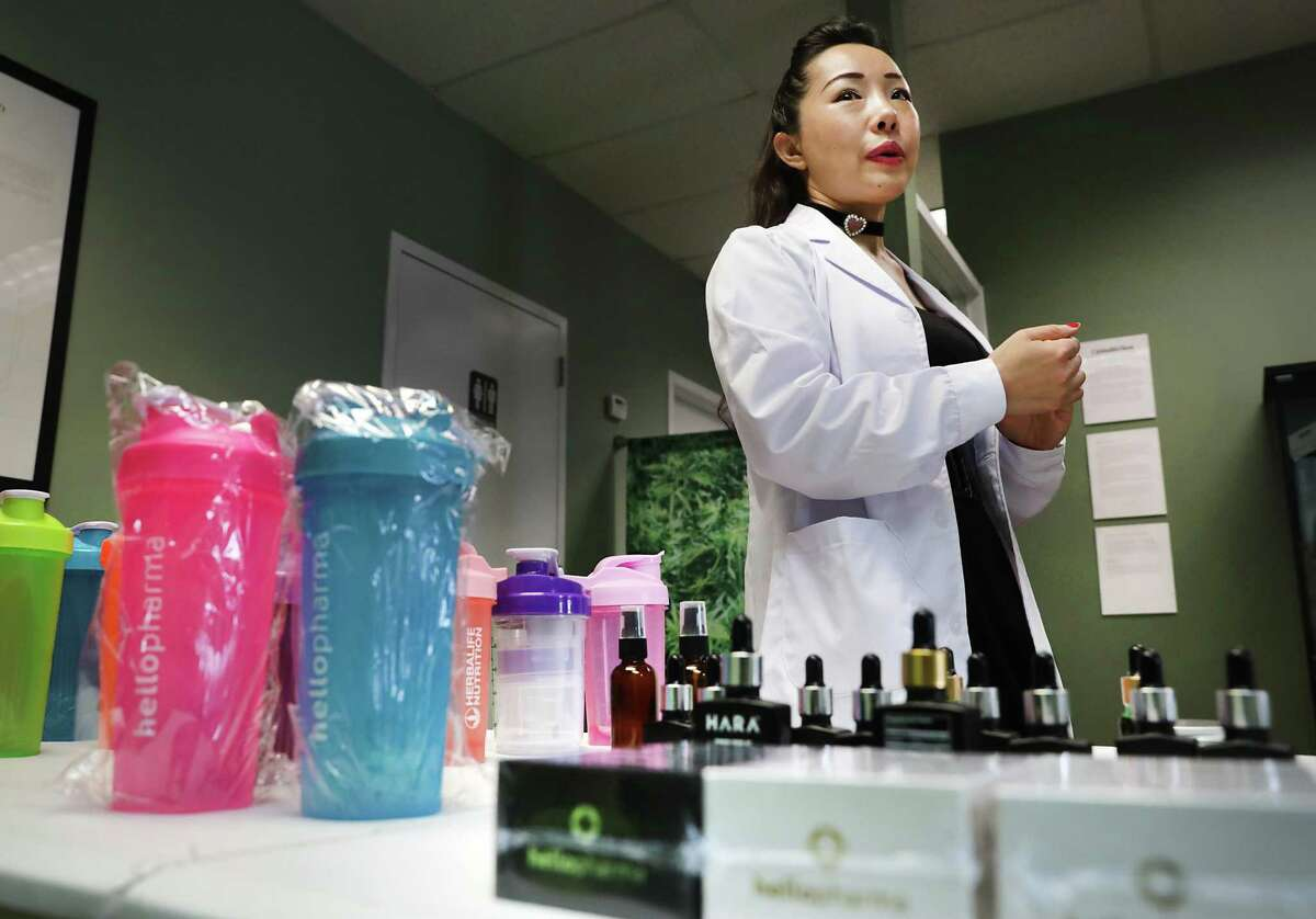 Ming Qi, founder and CEO of HelloPharma on Austin Highway, is unable to fill all her orders now due to the outbreak of the coronavirus in China, where she has bottles and packaging made.