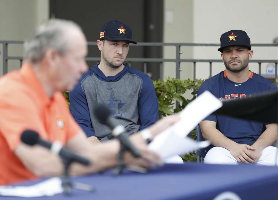 Houston Astros Alex Bregman and Jose Altuve listen to owner Jim Crane address sign-stealing scandal during a press conference before the start of the first day of the Houston Astros spring training camp at the Fitteam Ballpark of The Palm Beaches, in West Palm Beach , Thursday, Feb. 13, 2020. Photo: Karen Warren/Staff Photographer
