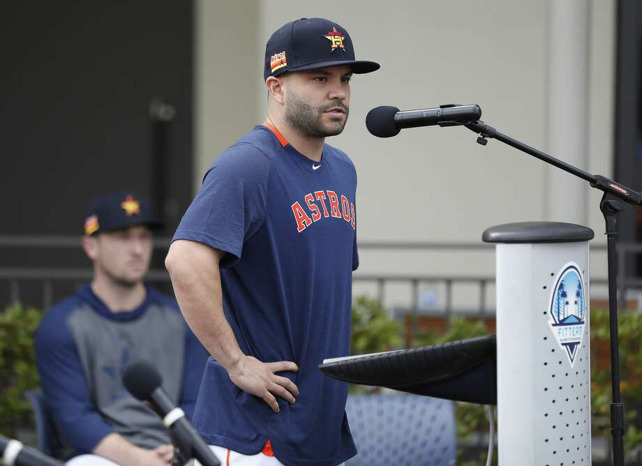 PHOTOS: What former Astros and current Astros have said about the cheating scandal before Thursday's press conference Houston Astros Jose Altuve speaks to the media as he and Alex Bregman addressed the sign-stealing scandal during a press conference before the start of the first day of the Houston Astros spring training camp at the Fitteam Ballpark of The Palm Beaches, in West Palm Beach, Thursday, Feb. 13, 2020. Browse through the photos above for a look at what current and former Astros players have had to say before Thursday ... Photo: Karen Warren/Staff Photographer