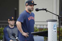 Houston Astros Jose Altuve speaks to the media as he and Alex Bregman addressed the sign-stealing scandal during a press conference before the start of the first day of the Houston Astros spring training camp at the Fitteam Ballpark of The Palm Beaches, in West Palm Beach , Thursday, Feb. 13, 2020.