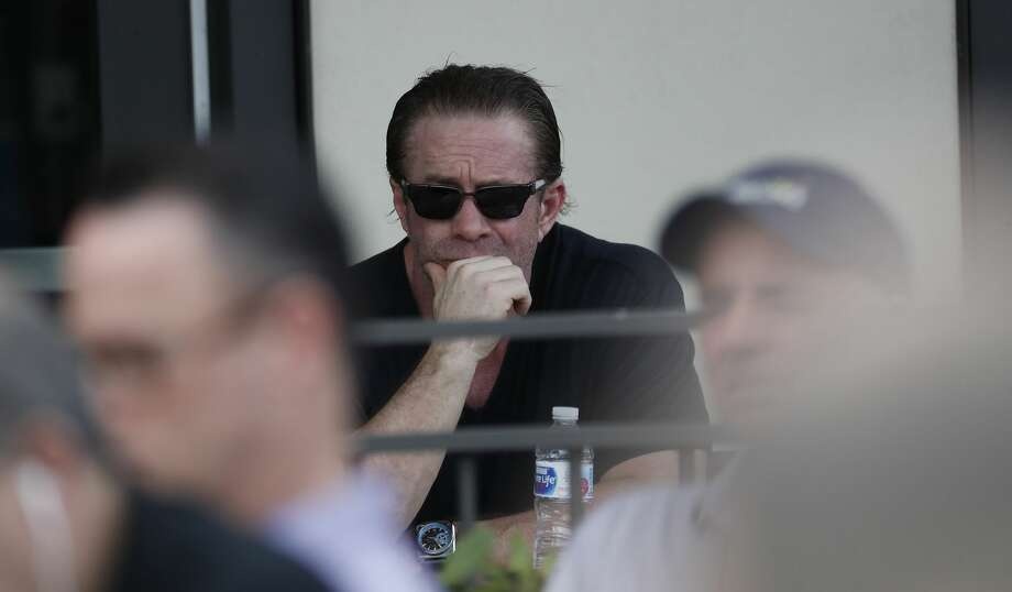 Former Houston Astros player and Hall of Famer Jeff Bagwell listens as owner Jim Crane and manager Dusty Baker addressed sign-stealing scandal during a press conference before the start of the first day of the Houston Astros spring training camp at the Fitteam Ballpark of The Palm Beaches, in West Palm Beach , Thursday, Feb. 13, 2020. Photo: Karen Warren/Staff Photographer