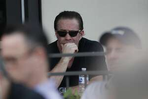 Former Houston Astros player and Hall of Fame Jeff Bagwell listens as owner Jim Crane and manager Dusty Baker addressed sign-stealing scandal during a press conference before the start of the first day of the Houston Astros spring training camp at the Fitteam Ballpark of The Palm Beaches, in West Palm Beach , Thursday, Feb. 13, 2020.