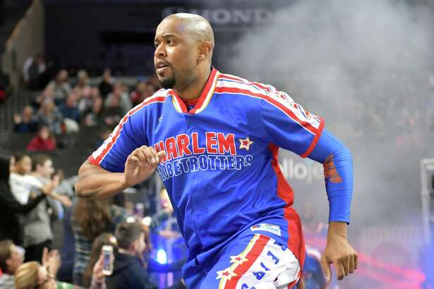 Scooter Christensen will be among the Harlem Globetrotters at Webster Bank Arena Feb. 14 and Feb. 2. He is seen here in a game with the Washington Generals.