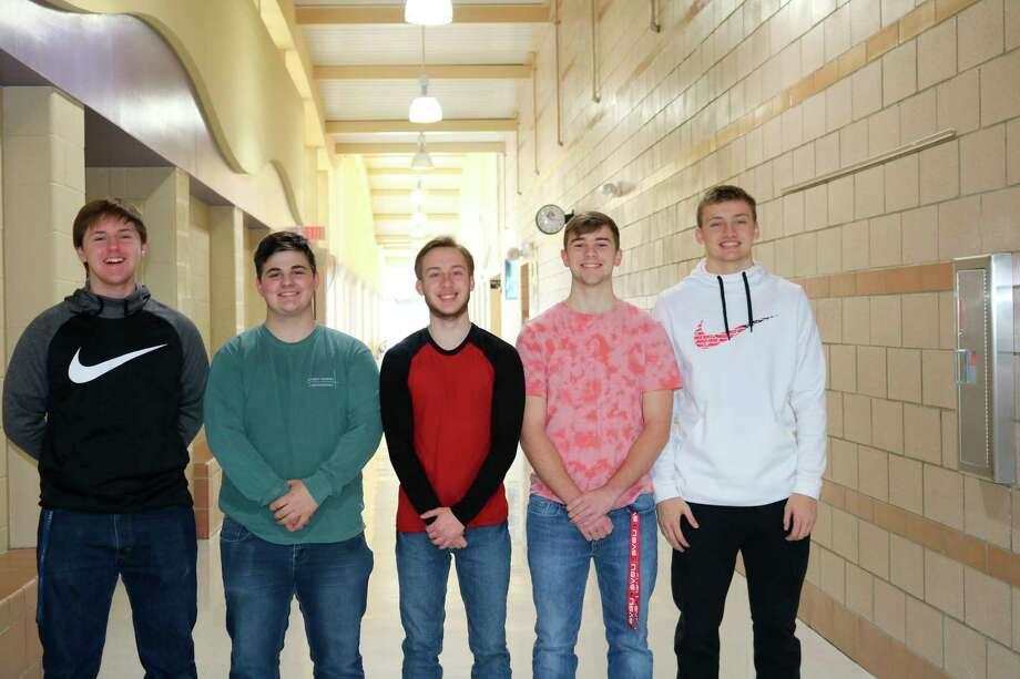 The Cominghome senior class representatives left to right areJeff Oakley,Gavin Iseler,Sean Hessling,Caleb Hunter and Nathan Siemen. (Courtesy Photo)