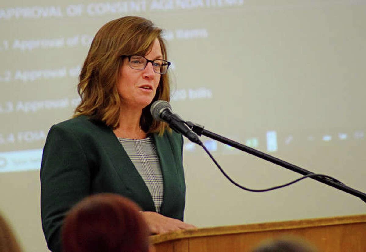State Representative Katie Stuart (D-Edwardsville) speaks at the District 7 School Board meeting Monday night.