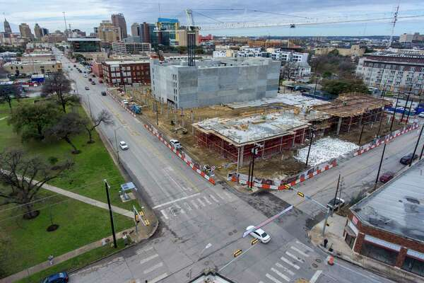 The still-under-construction Flats at River North apartments at the corner Jones Avenue and Broadway are seen in a Feb. 12, 2020 photo.