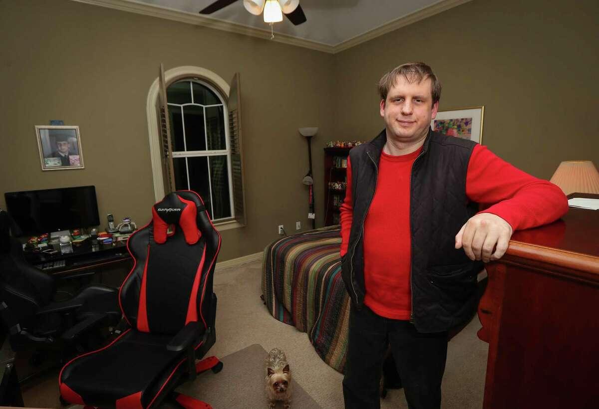 Justin Moehn in his bedroom Wednesday, Feb. 5, 2020, in Richmond.