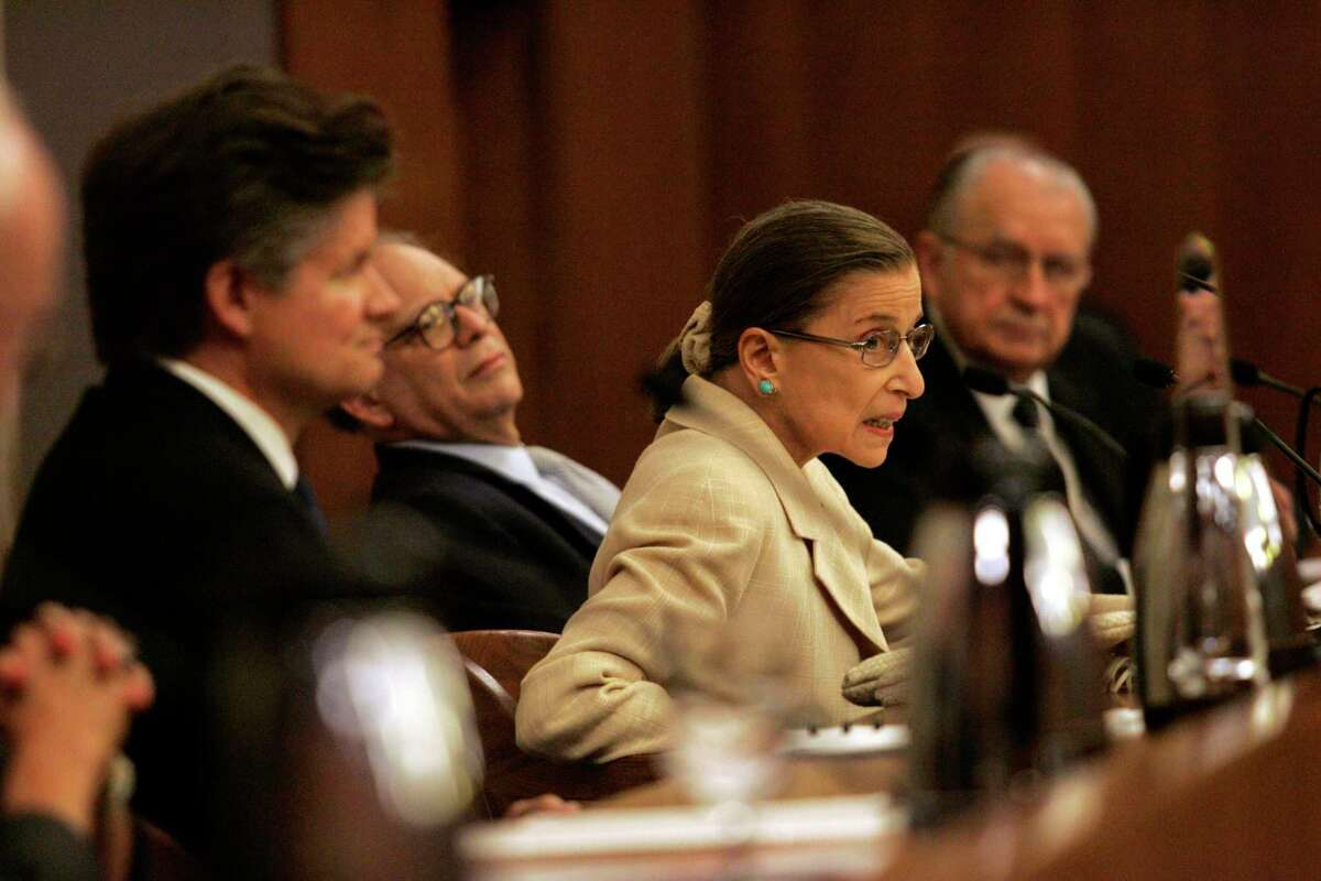 Justice Ruth Bader Ginsburg during a visit to Houston on Sept. 20, 2007, to honor Judge Carolyn Dineen King of the 5th U.S. Circuit Court of Appeals with the Edward J. Devitt award, at the Bob Casey Federal Courthouse Thursday, Sept. 20, 2007, in Houston. Before the ceremony Ginsburg visited the University of St. Thomas and Rothko chapels.