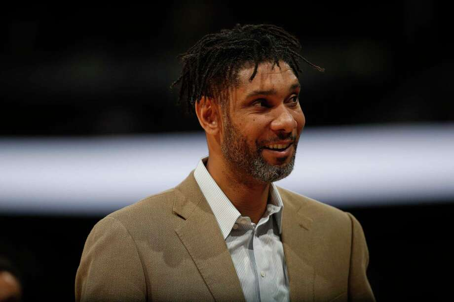San Antonio Spurs assistant coach Tim Duncan in the first half of an NBA basketball game Monday, Feb . 10, 2020, in Denver. Photo: David Zalubowski, STF / Associated Press / Copyright 2020 The Associated Press. All rights reserved.