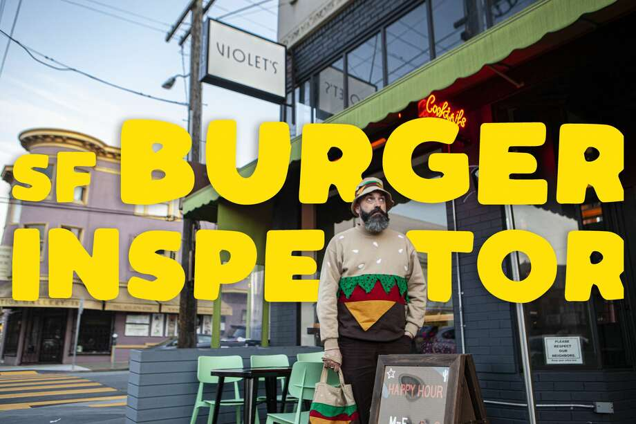 Artist Jeremy Fish, our SF Burger Inspector, at Violet's in San Francisco's Richmond District, Feb. 12, 2020. Photo: Dan Gentile/SFGATE