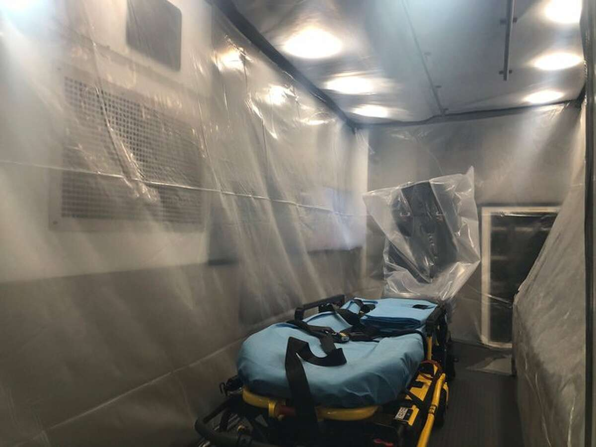 The San Antonio Fire Department shared a photo of a dedicated ambulance used to convey suspected COVID-19 (novel coronavirus) patients to medical facilities. Chief Charles Hood said the vehicle is dedicated to this event