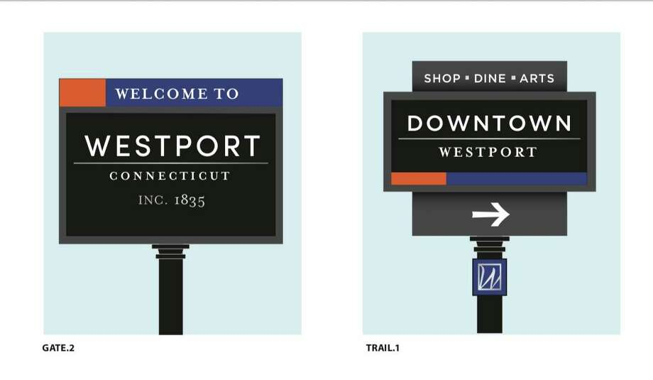 Gateway signage, left, and a sign to direct drivers to downtown Westport designed by design firm Merje. Photo: Contributed Photo