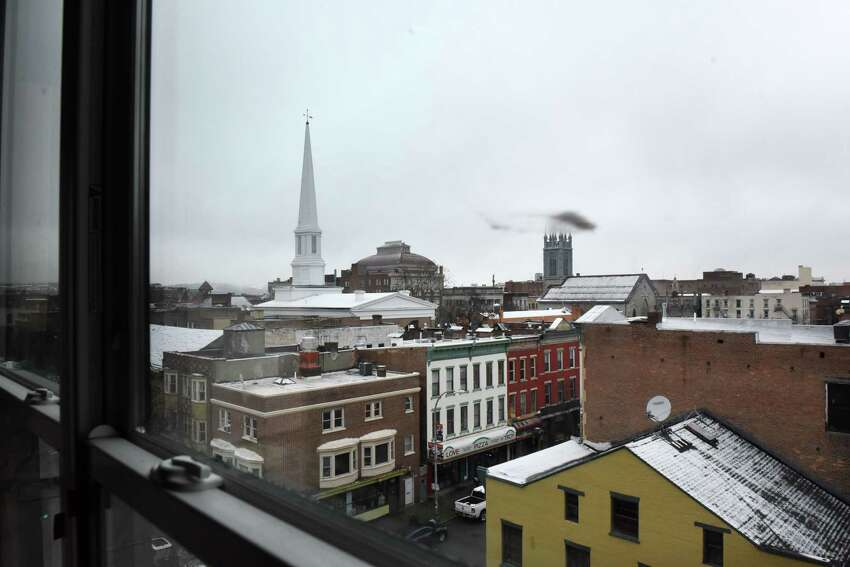 View from the fifth floor of the the Vicina Ð Modern Urban Flats mixed-use development on Thursday, Feb. 13, 2020, in Troy, N.Y. The $18 million, mixed-use building will have 80 apartments as well as street-level commercial space. It is being developed by The Rosenblum Companies. (Will Waldron/Times Union)