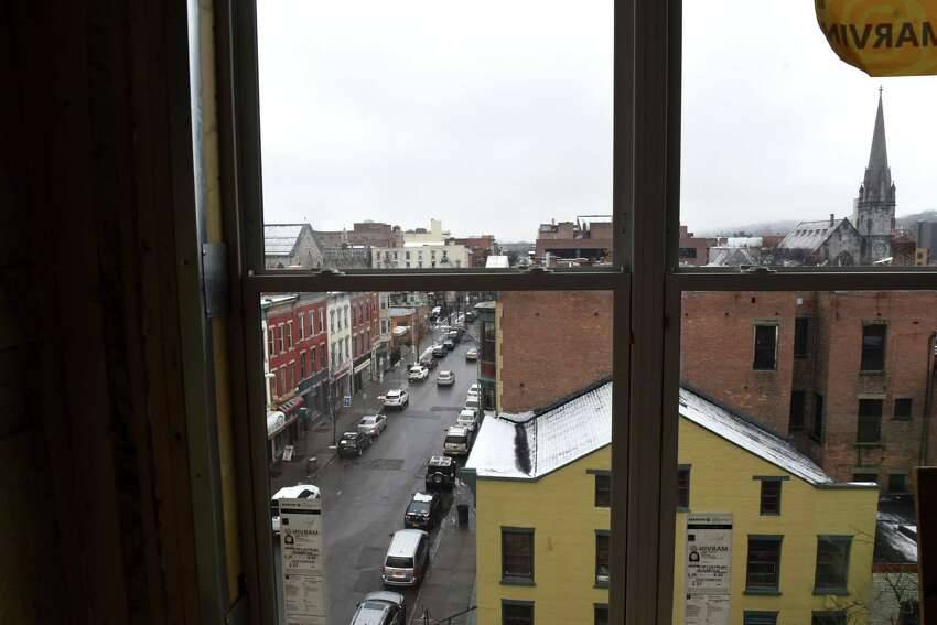View from the fifth floor of the the Vicina Ð Modern Urban Flats mixed-use development looking up Fourth Street on Thursday, Feb. 13, 2020, in Troy, N.Y. The $18 million, mixed-use building will have 80 apartments as well as street-level commercial space. It is being developed by The Rosenblum Companies. (Will Waldron/Times Union)