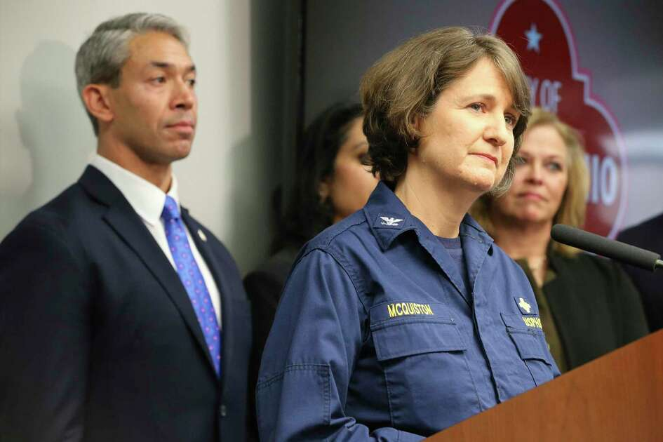 Jennifer McQuiston, right, has been in charge of operations for the Centers for Disease Control and Prevention at Joint Base San Antonio-Lackland while evacuees have been quarantined there. Here, she spoke at a news conference on Feb. 13, 2020, with Mayor Ron Nirenberg.