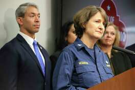 Dr. Jennifer McQuiston with the Centers for Disease Control and Prevention along with Mayor Ron Nirenberg speak about the coronavirus earlier this month. With evacuees placed at Lackland, San Antonio is on the front line for quarantine efforts.