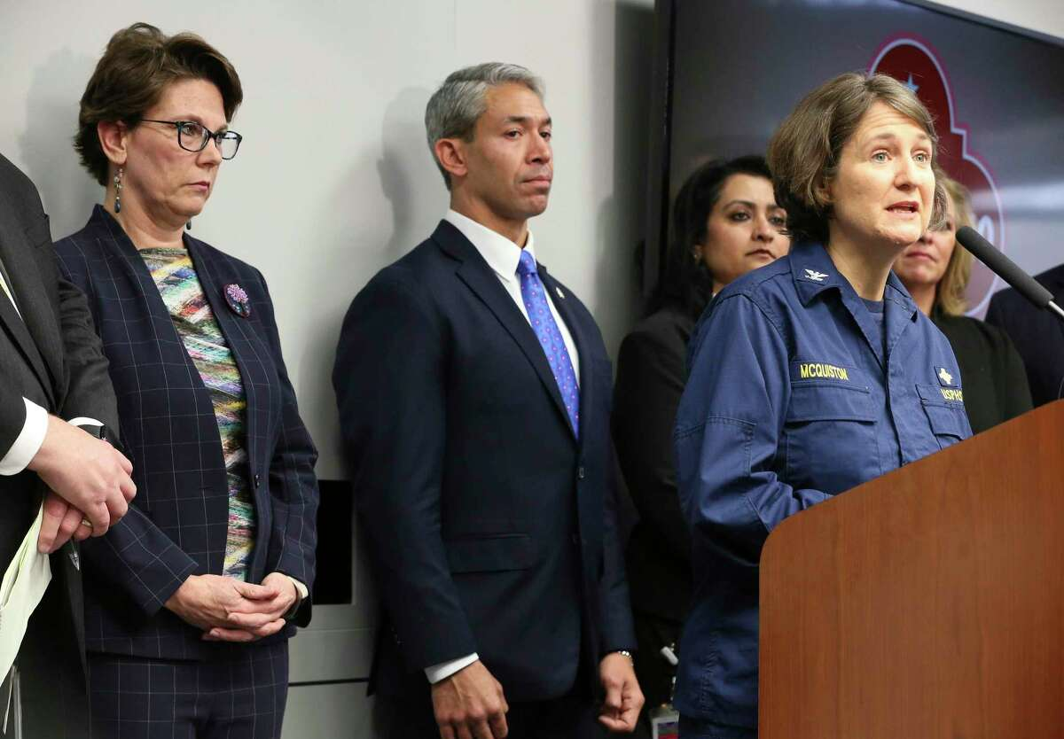 Capt. Jennifer McQuiston (right) with the Centers for Disease Control and Prevention, along with Assistant City Manager Colleen Bridger (from left) and Mayor Ron Nirenberg, announce details of San Antonio's first diagnosed case of novel coronavirus on Thursday, Feb. 13, 2020.