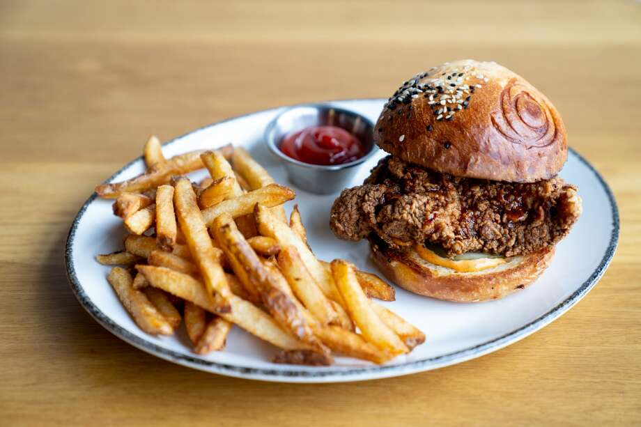 Local Group Brewing is set to open at 1504 Chapman in Near Northside on Feb. 28, 2020, according to a Thursday release. Pictured: The crispy chicken sandwich at Local Group Brewing. >>> See more on Local Group Brewing ... Photo: Courtesy