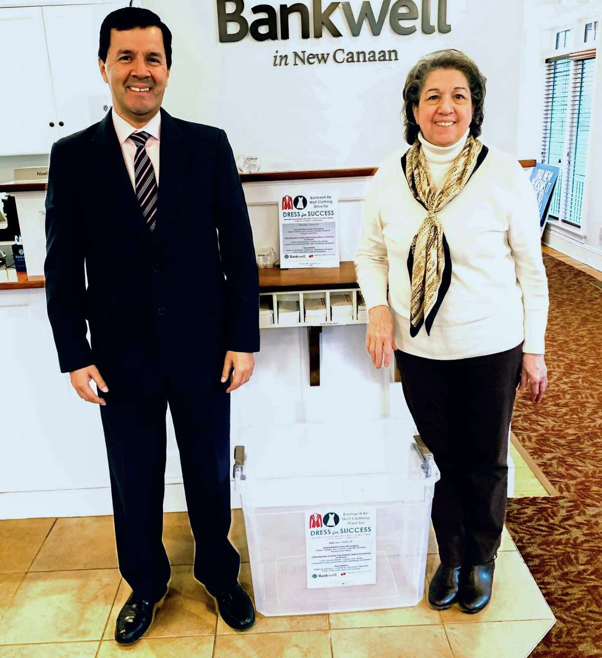 Manuel Rodriguez, left, is assistant branch manager at Bankwell's Cherry Street branch in New Canaan, and Noel Pascarella, is a universal banker at the branch.