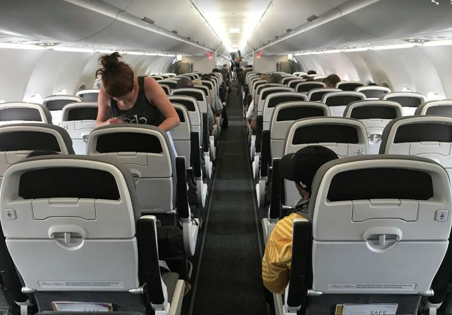 Economy class on Hawaiian Airlines new A321neo is configured 3x3 with a somewhat tight 30 inches of pitch. Extra comfort seats get 35 inches- SEE SLIDESHOW at the top of this post for more images Photo: Chris McGinnis