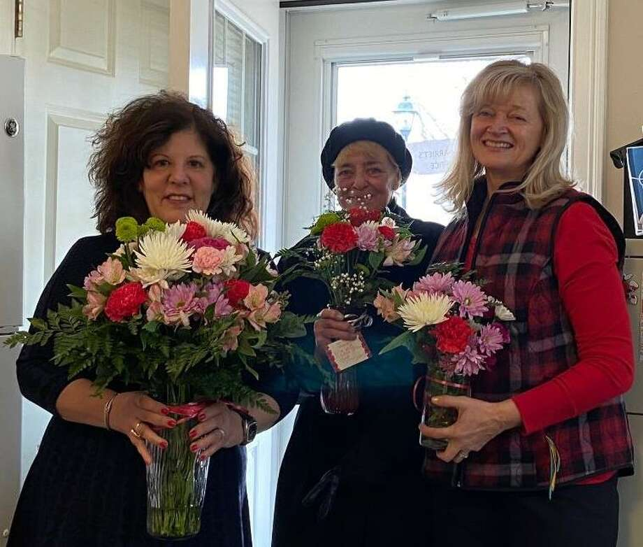 Pictured are Harrriet Polansky, Executive Director of Stern Village, Eileen Giarniero, Nichols Garden Club member,  and Anna Kaczmarczyk, Nichols Garden Club president. Photo: Contributed Photo