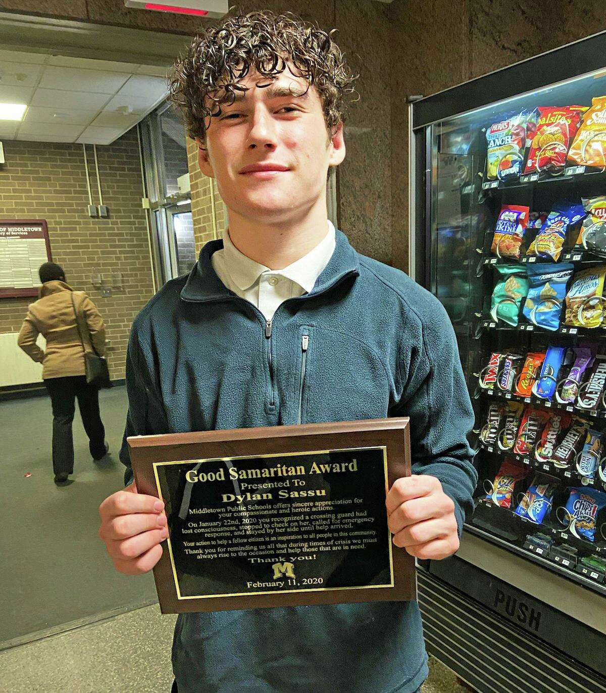 Middletown teen credited with saving crossing guard's life Dylan Sassu, 17, was dropping off a friend at Woodrow Wilson Middle School at about 2:30 p.m. Jan. 22 when he came upon crossing guard Catherine Russo, who had fallen and was lying face down.