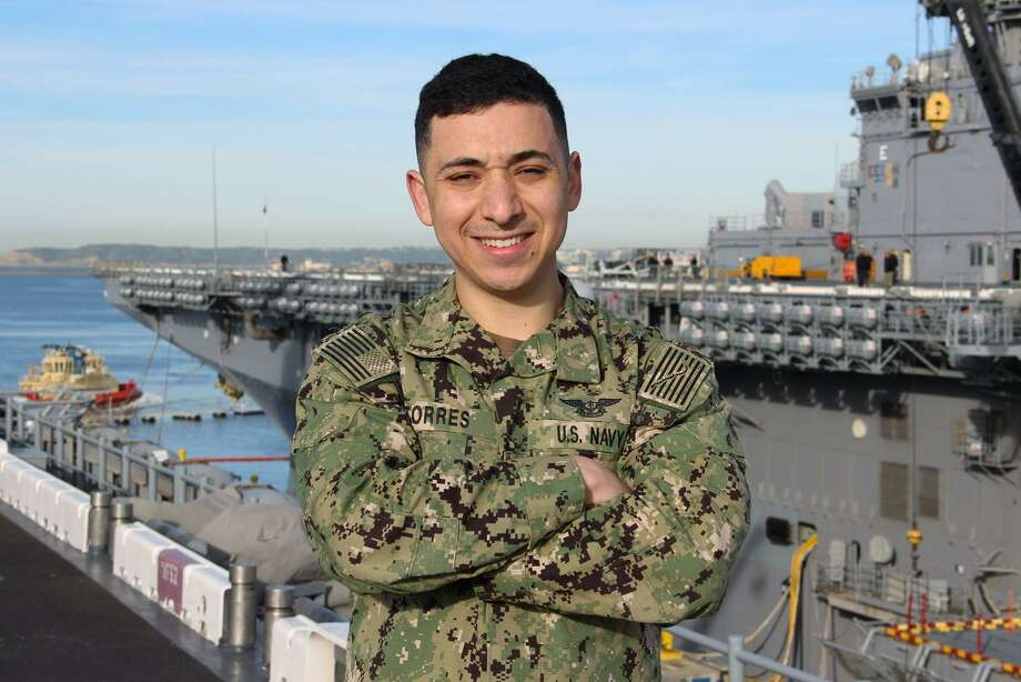 Petty Officer 2nd Class Manuel Torres of Houston serves aboard USS Boxer, stationed in San Diego, as an aviation maintenance administrationman. Torres is a 2012 Garnegie Vanguard graduate. Photo: Photo By Mass Communication Specialist 1st Class Tim Miller / U.S. Navy