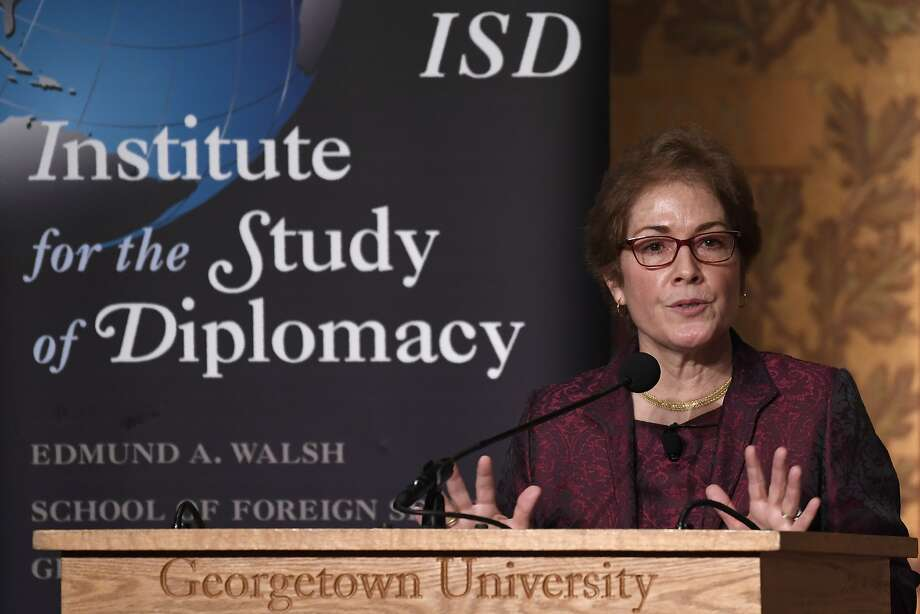 """Former Ukraine Ambassador Marie Yovanovitch tells an audience at Georgetown University in Washington that the State Department is facing a crisis because of senior leaders who lack """"moral clarity."""" Photo: Susan Walsh / Associated Press"""