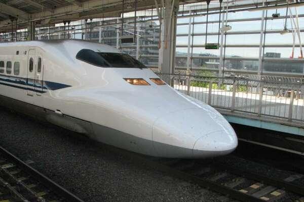 A Shinkansen high-speed train in Kyoto station.