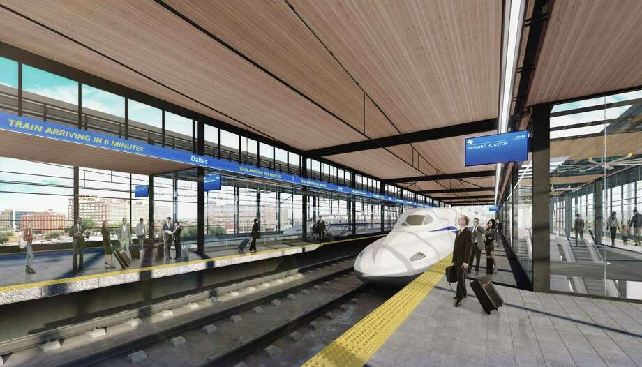 A rendering shows a proposed appearance of the Dallas station of Texas Central's planned high-speed train line from Houston to Dallas. Photo: Courtesy Texas Central Partners