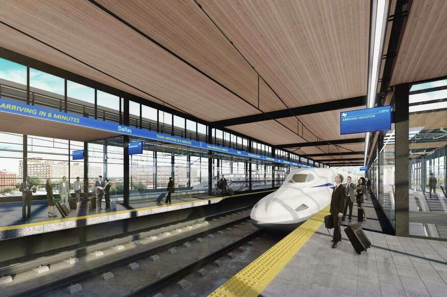 A rendering shows a proposed appearance of the Dallas station of Texas Central's planned high-speed train line from Houston to Dallas.