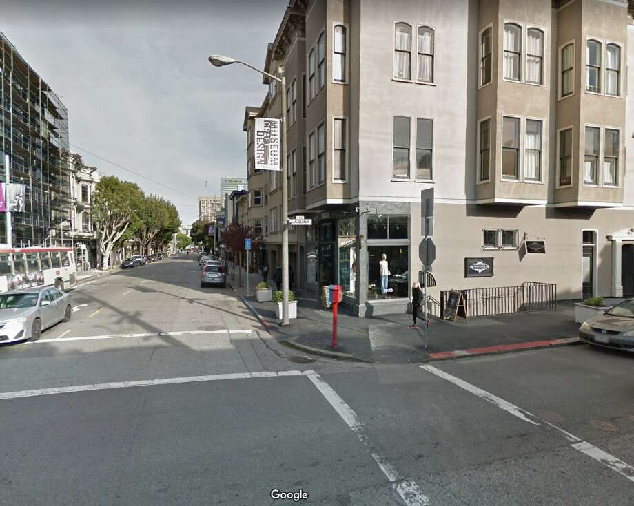 A fire broke out in a PG&E vault at Hayes and Laguna in San Francisco on Feb. 12, 2020. Photo: Google Street View