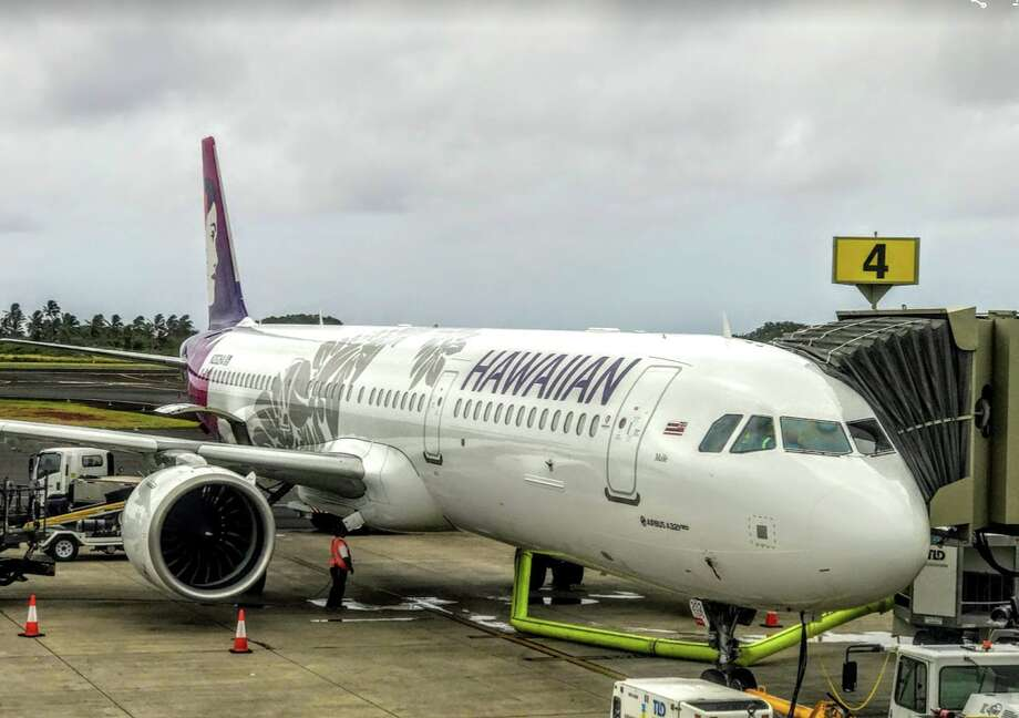 Hawaiian Airlines has replaced 18 widebodies with shiny new Airbus A321neo narrowbodies like this one here at Lihue airport in Kauai Photo: Chris McGinnis