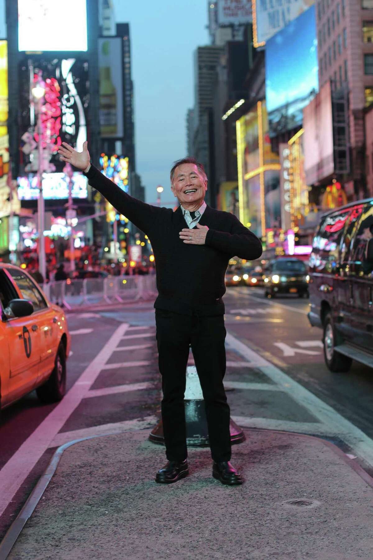 George Takei in Times Square, New York City.