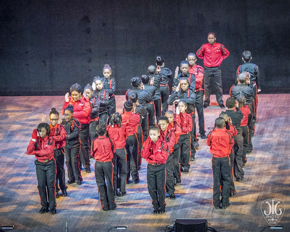 A step team performing at the 2015 Black History Month Step Show at the Palace (Jim Gilbert / image courtesy the Palace Theatre)