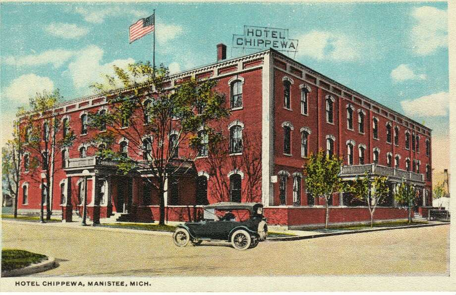 The Hotel Chippewa was that was located in downtown Manistee is shown in this photograph from the 1920s.