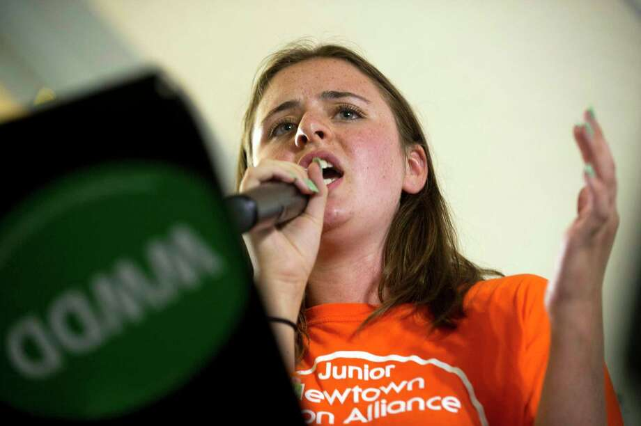 Natalie Barden, 16 at the time, speaks to the large crowd during the Road to Change Tour, which featured members of Sandy Hook Promise and activists from March For Our Lives coming together at the Fairfield Hills Campus in Newtown Aug. 12, 2018. Photo: Michael Cummo / Hearst Connecticut Media / Stamford Advocate