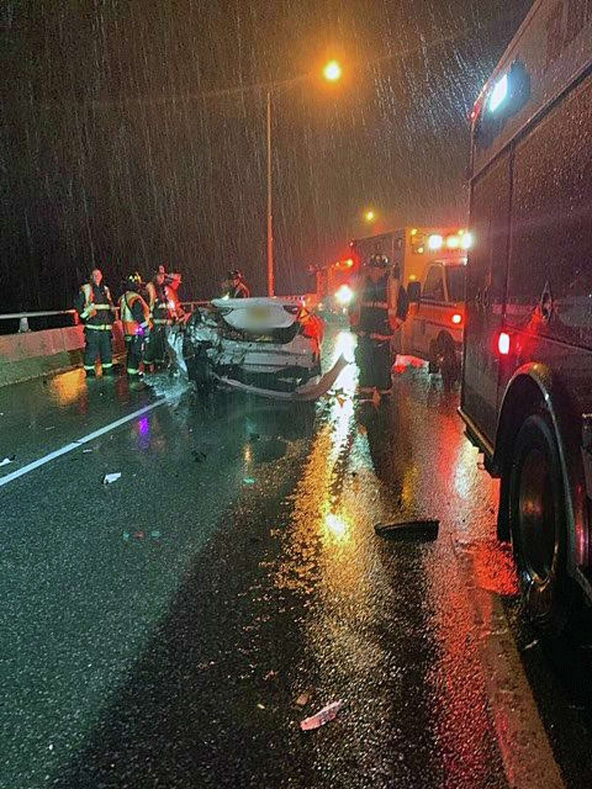 A three-vehicle crash in Westport, Conn., sent three people to the hospital Thursday, Feb. 13, 2020.
