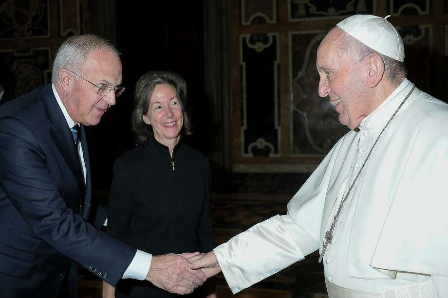 Pope Francis, right, receives Knights of Columbus Supreme Knight Carl Anderson and his wife, Dorian, during a private audience in the Vatican on Feb. 10 to mark the 100th anniversary of the Knights' presence in Rome. Photo: Knights Of Columbus / Contributed Photo / Vatican Media