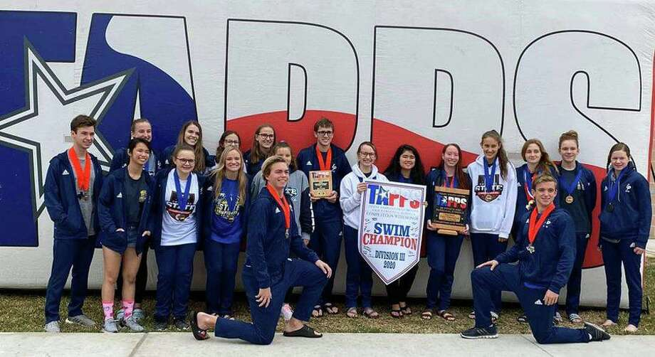 The Logos Prep swimming team won the girls TAPPS Division III championship, scoring 285 points. The Lions were also third in the boys standings. Photo: Logos Preparatory Academy / Logos Preparatory Academy