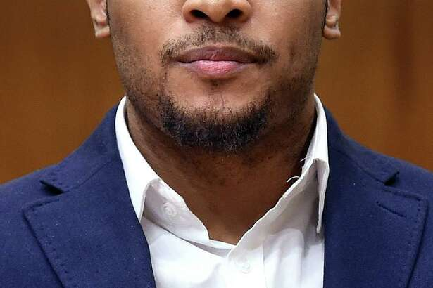 """Christopher Calhoun appears in Superior Court in New Haven on Feb. 13, 2020 for the opening day of a trial for the 2011 killing of Isaiah """"King"""" Gantt."""