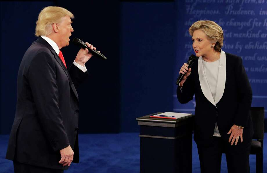In the 2016 debates, then Republican presidential nominee Donald Trump circled Hillary Clinton like a shark, a reader says. She sees no reason for the 2020 Democratic nominee to share a stage with Trump. Photo: John Locher / Associated Press / Copyright 2016 The Associated Press. All rights reserved.