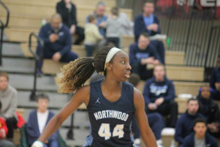 Former Crossroads and Big Rapids girls basketball player Jayla Strickland (44) gets ready to make a play for Northwood against Ferris last weekend. (Pioneer photo/John Raffel)