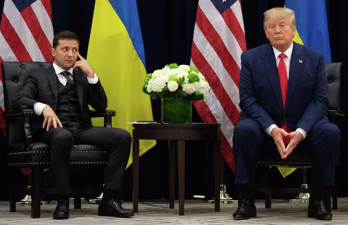 TOPSHOT - US President Donald Trump and Ukrainian President Volodymyr Zelensky looks on during a meeting in New York on September 25, 2019, on the sidelines of the United Nations General Assembly. (Photo by SAUL LOEB / AFP)SAUL LOEB/AFP/Getty Images