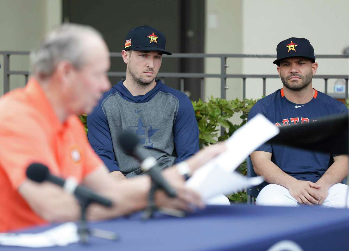 PHOTOS: The cheating history of every team in Major League Baseball history Alex Bregman, center, and Jose Altuve, right, spoke during a spring training news conference conducted by Astros owner Jim Crane, left. The two players then joined eight other teammates remaining from the 2017 championship team to answer reporters' questions in the Astros' clubhouse.