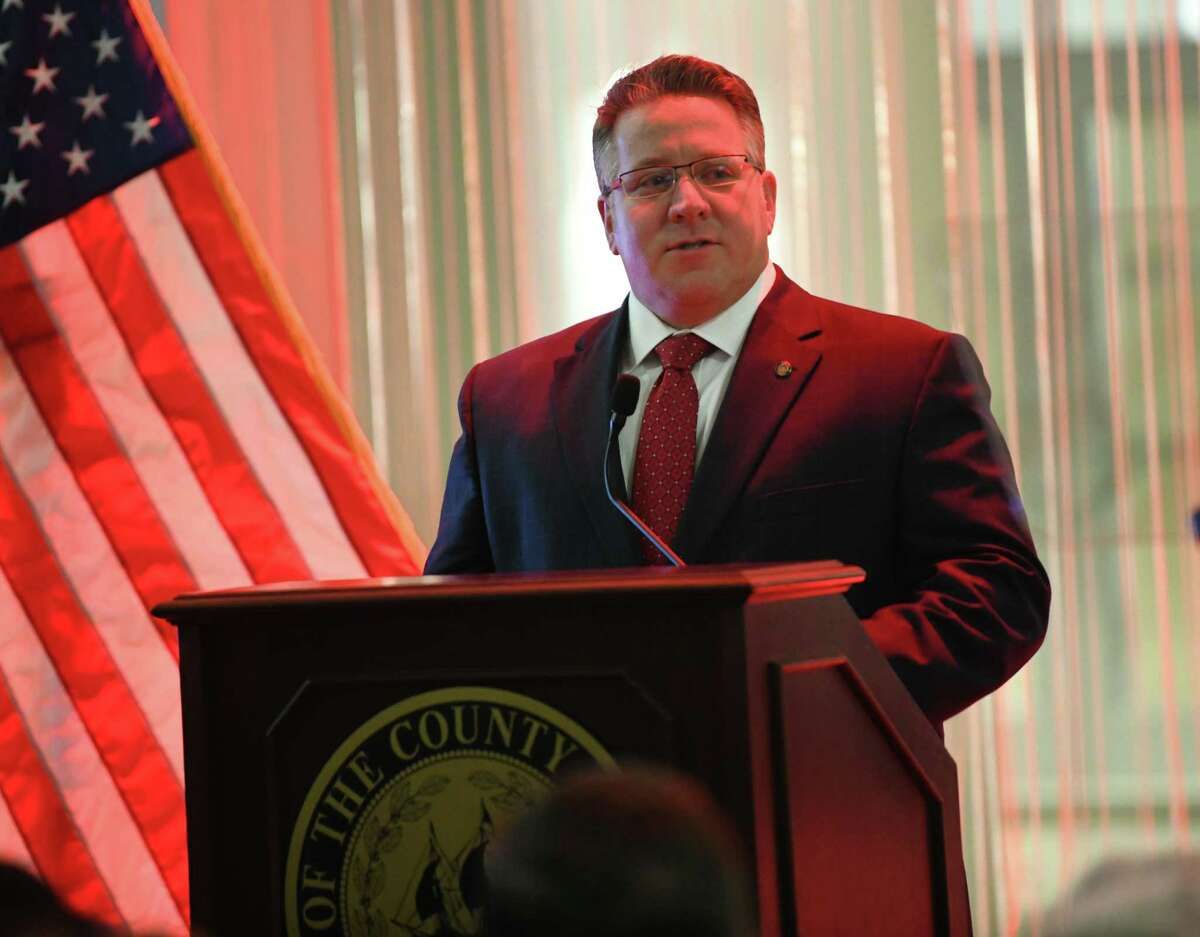 Albany County Executive Daniel McCoy delivers his ninth State of the County Address at the Times Union Center Atrium on Thursday, Feb. 13, 2020 in Albany, N.Y. (Lori Van Buren/Times Union)