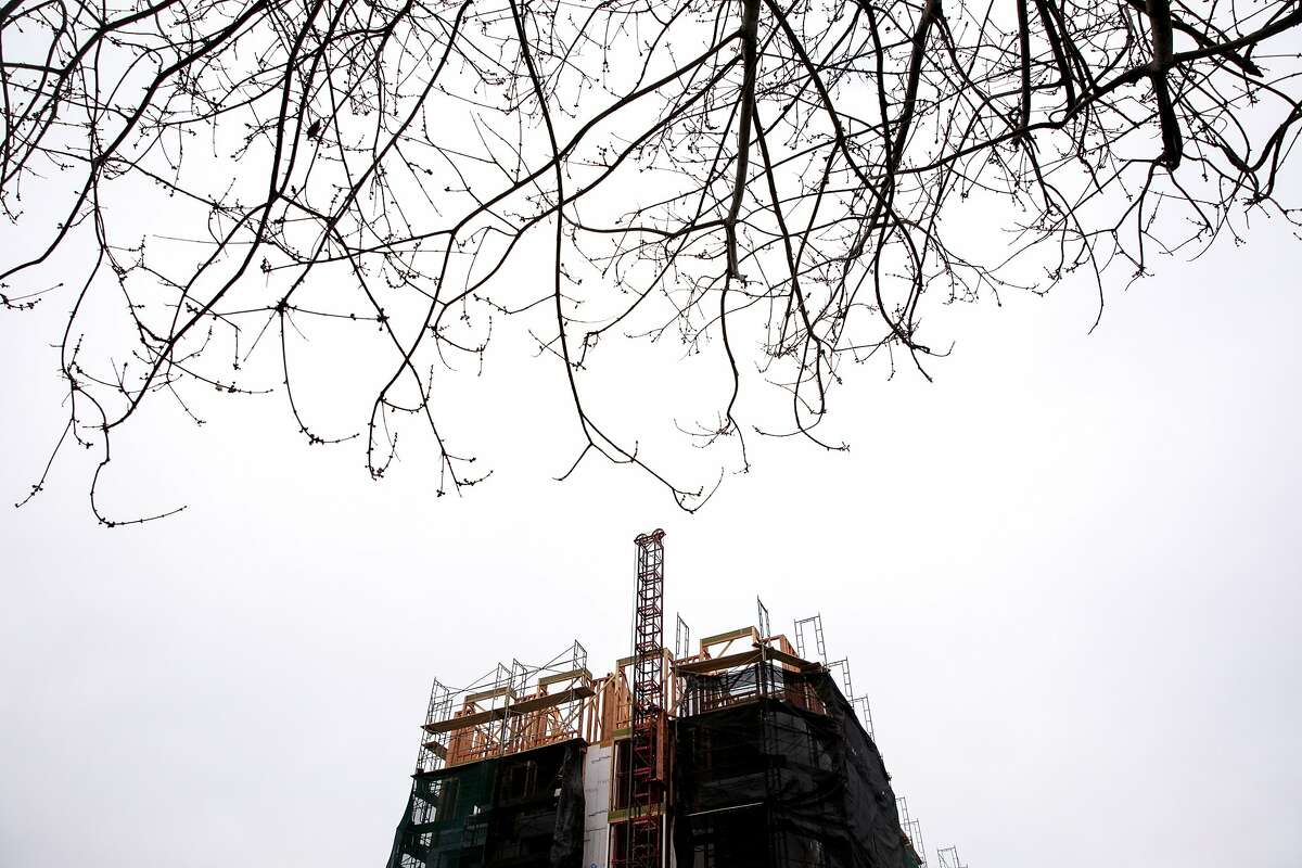An apartment building under construction in Berkeley last year.