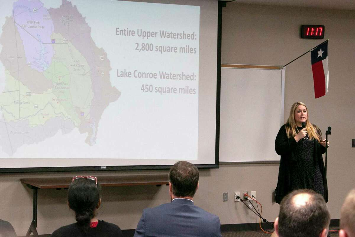 Jenna Armstrong, the President and CEO of the Lake Houston Chamber of Commerce, spoke to BizCom attendees about Lives Over Levels, the chamber's campaign aimed at continuing the seasonal lowering of Lake Conroe by two feet below pooling level.